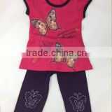 2016 summer new fashion toddler girls clothing sets kids printing blouse+pants wholesale