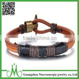 Men Women's Alloy Clasp Genuine Leather Rope Bracelet Handmade Bangle Cuff Surfer Wrap Adjustable