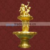 beautiful outdoor & indoor angel fiberglass fountain with golden painting