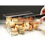 clear stackable acrylic/plastic bage/cake/pie bakery compartment storage bin box