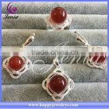 Beautiful design red agate thai silver hot selling china wholesale 925 silver jewelry set (0760T2)