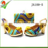 china wholesale italian shoes and bag set african wax style yellow purses handbags matching sandals shoe