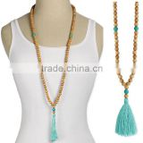 Wooden and turquoise beads tassel necklace