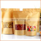 Brown kraft paper resealable food bags snack wax paper bag for food                                                                                                         Supplier's Choice