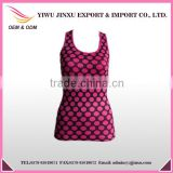China Factory Wholesale OEM Wave Point Printed Custom Gym Women Sports Singlets High Quality Sports Vests