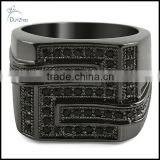 wholesale all black bling maze cz micropave hip hop ring