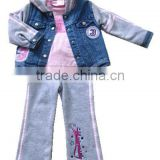 2015 girls spring clothes set hot girls join tcoat sport set Baby 3 Pcs Clothing Set