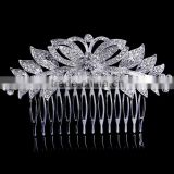 Silver plated crystal butterfly hair accessories head combs pieces for women