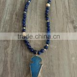 Navy Blue Natural Beads Brushed Gold Beads Mix Strand Necklace Pointed Agate Pendant Necklace