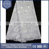 2016 best selling peacock design plain swiss voile fabric wedding dress nigerian asoebi white cotton lace embroidery fabric