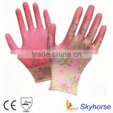 Garden glove Printing Polyester shell Latex Coated Crinkle Finish Safety Work Gloves