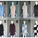Fashion Design Fox Fur Vest With Sheep Fur Waistcoat/Mongolian lamb fur long vest