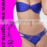 Wrinkle Bikini with Brazilian Bandage Daimond Panty Sexy Fashion Modern Bikini Swimwear NA95-blue