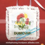 Good quality rose flower fragrant bag air freshing oil sachet with hand embroidery