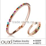 OUXI High quality Latest design gold plated crystal beads bridal fashion jewelry set S-2066