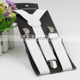 Promotional white Braces Suspender For Kids metal clips personalized suspenders for kids with wholesale price