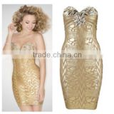 Crystal Wedding Gold Sexy Beaded Nude Short Cocktail Dress