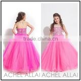 A Line Crystal Beaded Custom Made Vestidos Flower Little Girl for Wedding Party TF019 girl dresses for party