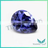 2016 trending products 925 silver ring with blue stone pear diamond cut 33# corundum blue sapphire