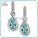 Wholesale aquamarine cz teardrop earrings