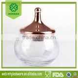Mintao Custom high quality rose gold glass candy jar wooden lid