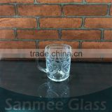 Cheap Embossed Glass Beer Mug with Handle