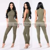 Adult Romper Pattern 95% Polyester 5% Spandex Mock Neck Sleeveless Skinny Leg Back Zipper Lady Womens Jumpsuits