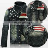 USA American flag stars and stripe mens denim jean jacket coat leather jacket wash material jacket