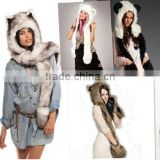 Europe and the United States fashion fake fur hat scarf gloves one animal hat faux fur hat plush cartoon cap red wolf
