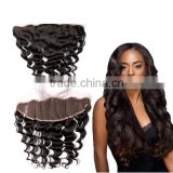 7A Full Lace Frontal Brazilian Virgin Hair Loose Wave 13X4 Brazilian Hair Closure Lace Frontal With Bleached Knots