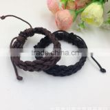 Mens Leather Wax Cord Bracelet Woven Braided Wristband Adjustable Leather Cord Bracelet for Men