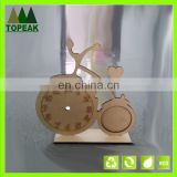 Handmade bicycle shaped natural wooden photo frame decoration frame