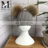 Fashion Hats For Kids Handmade Child Hat Two Raccoon Fur Pom Poms With Button Korean Winter Knit Hat Kid