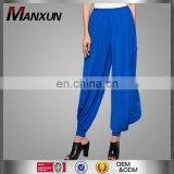 Factory price yoga pants ladies fashion baggy pants trousers women cotton blue harem pants