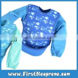 Eco-Friendly With Sleeves In Blue Neoprene Real Waterproof Kids Bibs