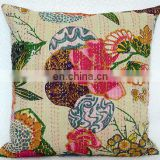 16* Kantha Cushion Pillow Cover Throw work Embroidery Handmade Indian floral print kantha Decorative Traditional Art White