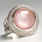 Sterling Silver 14mm Rose Quartz Cerise Ring for Women