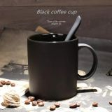 Glazed Black coffee ceramic mugs,dull polish with spoon, matter milk cup