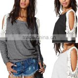 sexy women off shoulder tee shirt long sleeve causal loose lace tops for women apparel cheap wholesale                                                                         Quality Choice                                                     Most Popular