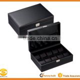 Carbon Fiber Pattern Solid Top Watch Case Display Storage box Chest Holds 10 Watches With Squeezable Removable Pillows