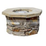NEW Garden Patio Octagonal Stacked Rock Stone Outdoor Gas Fire Pit