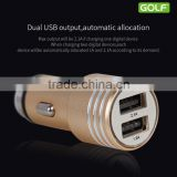 GOLF GF-C06 Dual USB Bullet Car Charger For Iphone6s/6/S7 2.1A/1A Metal Matt Quick Charging Smart Car Charger for iphone 6plus