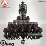 48 Light Large Black Chandelier with Black Crystal & Lamp Shade