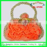 Orange handbag design embroidery chiffon flower embroidery patch for children garment decoration