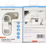 Wholesale usb data cable for samsung mobile phone/for iphone usb cable+bottle opener cable