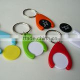 Plastic shiny euro coin holder keychain