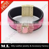 2014 Wholesale Leather rhinestone bracelet China Top 10 Fashion Jewelry Manufacture with supreme quality MLB 007