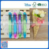 Hot selling cheap plastic multi color ball point pen with six color