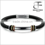 new Fashion Model Simple style men's 316L stainless steel silicone bracelet Bangle Silver gold rose gold black four tones