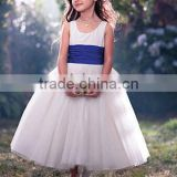 Lovely Scoop Blue Pleated Band Layer Prom Zipper Tea-Length Princess Flower Girl Dress ZX-027